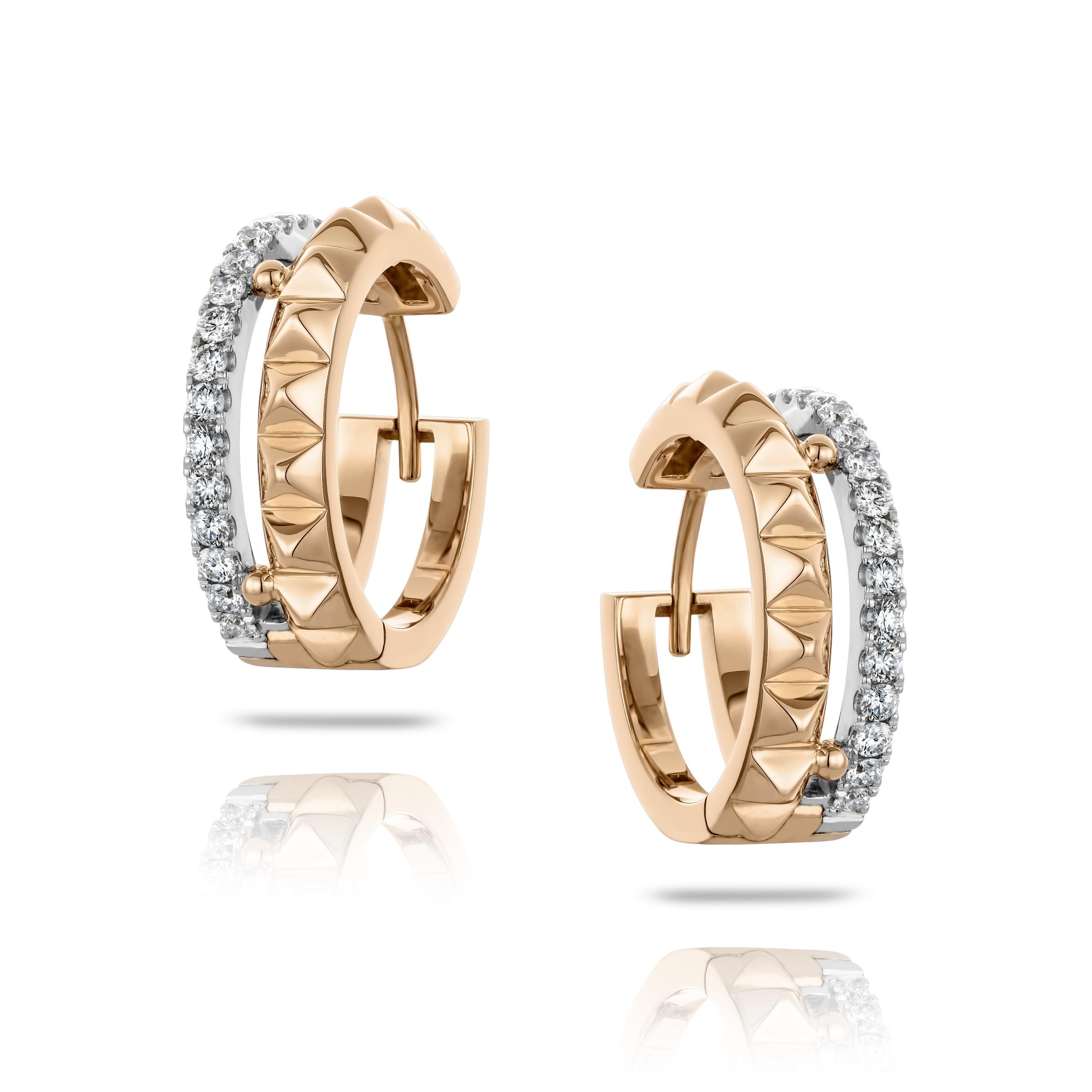Boucles d'oreilles doubles Hulchi Belluni anneaux d'or rose pyramides et pavé de diamants