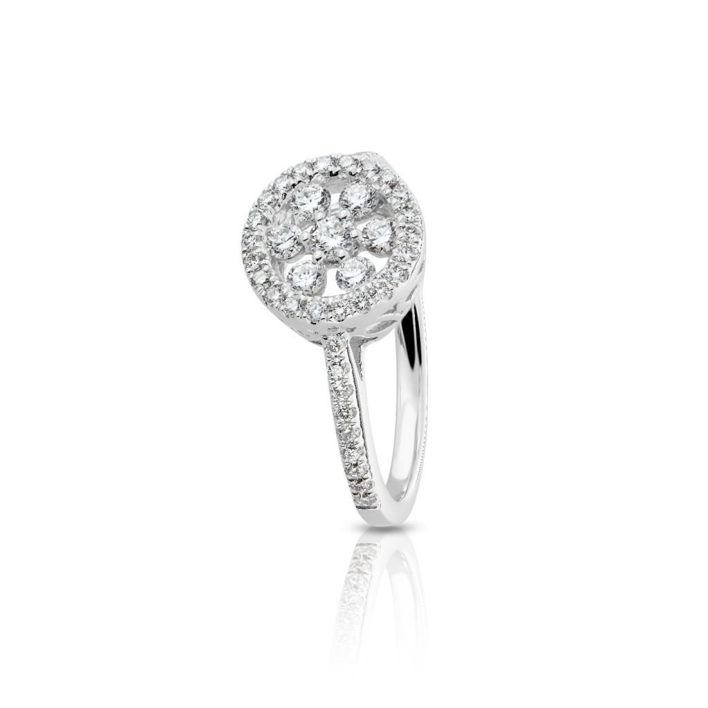 Bague Hulchi Belluni coeur en diamants entourage et or blanc