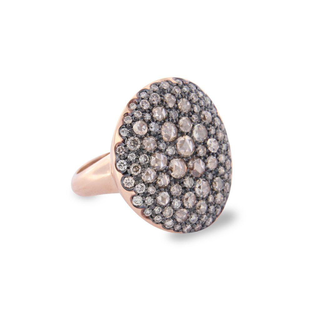 Bague Brusi pavé de diamants bruns sur or rose