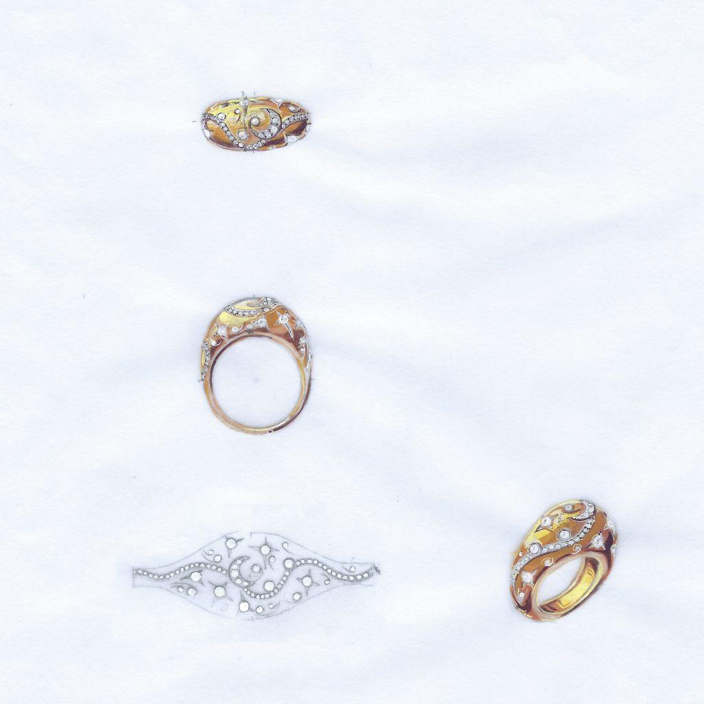 Projet sur mesure de bague en or et diamants