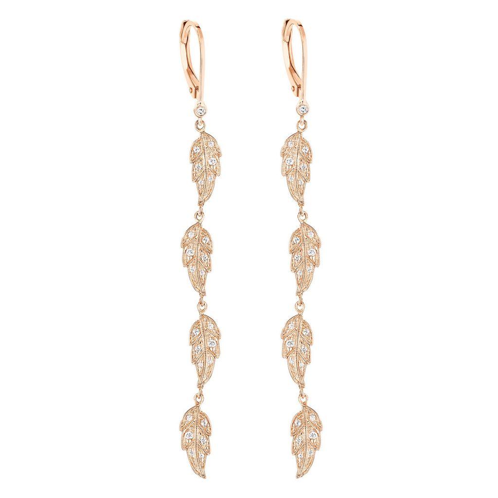 Boucles d'oreilles pendantes Stone Paris Tree of Life en or rose et diamants