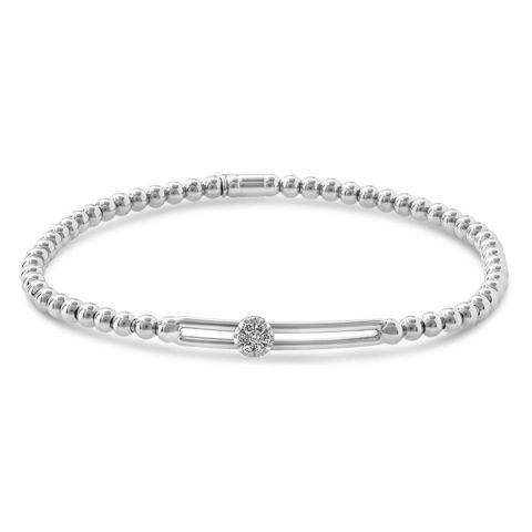 Bracelet Hulchi Belluni Tresore en or blanc avec pavé de diamant coulissant