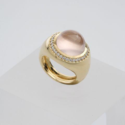 bague création david mann or jaune pierre rose entourage diamants
