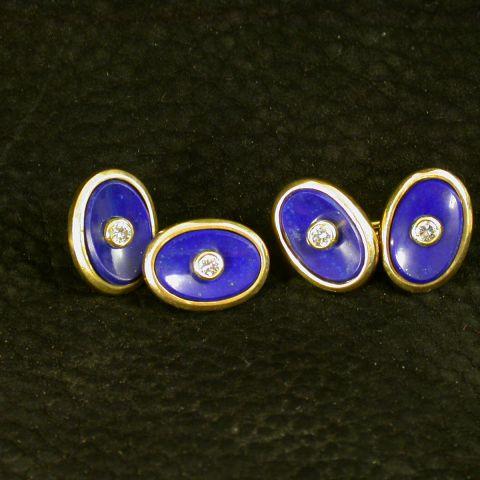 boutons de manchette création david mann or jaune lapis lazuli