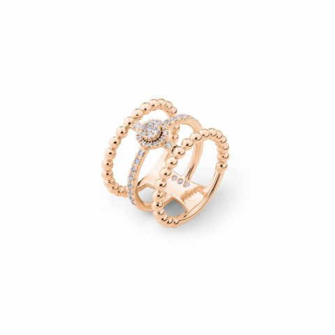 Triple bague Casato Boutique en or rose et diamants