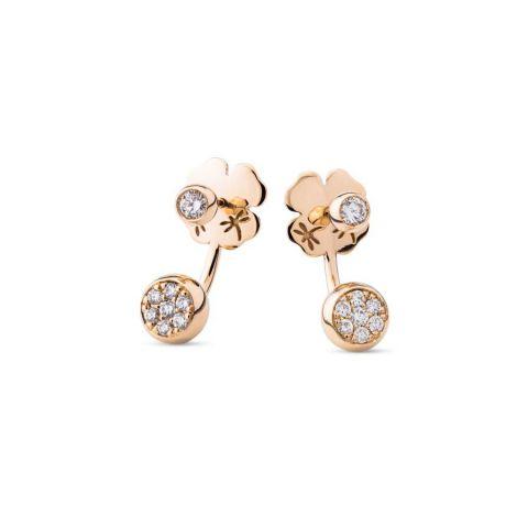 Boucles d'oreilles Casato en or rose et diamants avec pendant sous le lobe