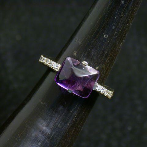 bague création david mann or blanc améthyste diamants corps de bague