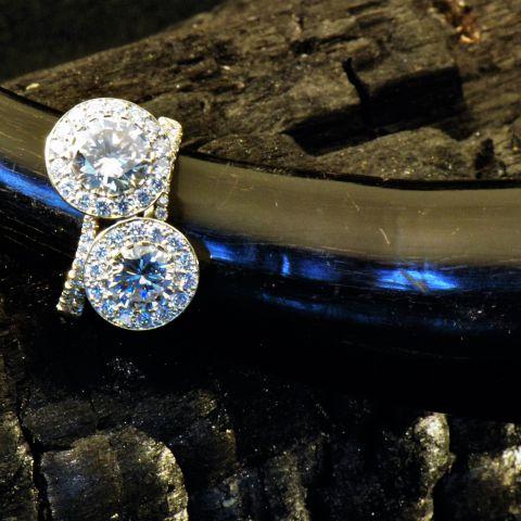 bague double création david mann diamants entourage diamants