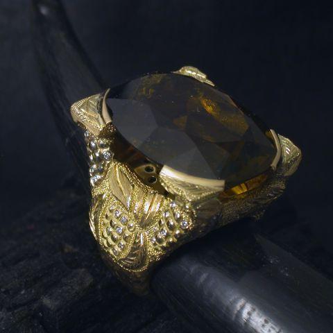 bague création david mann or jaune diamants pierre noire
