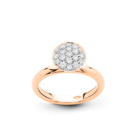 Bague Hulchi Belluni Funghetti or rose et pavé de diamants