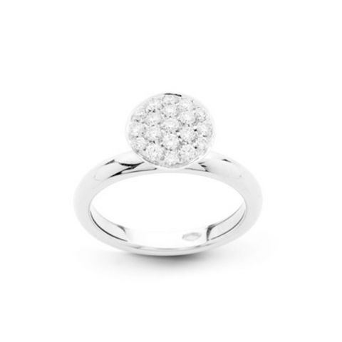 Bague Hulchi Belluni Funghetti or blanc et pavé de diamants