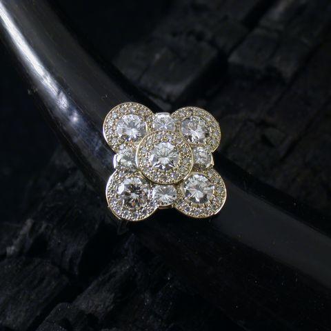 bague création david mann or blanc diamants trèfle petit