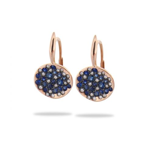 boucles d'oreilles brusi or rose diamants pierres bleues
