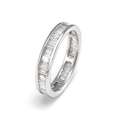 Alliance complète en diamants baguettes et or blanc
