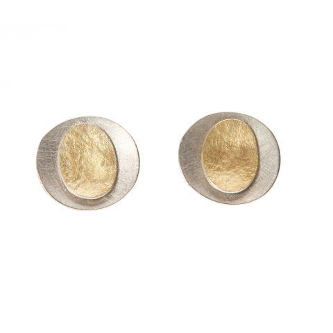 Boucles d'oreilles Georges Cuyvers doubles pastilles or jaune sur or blanc