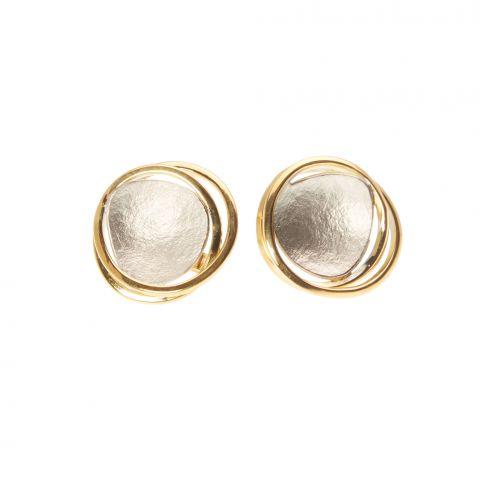Boucles d'oreilles Georges Cuyvers pastilles d'or blanc et fils d'or jaune