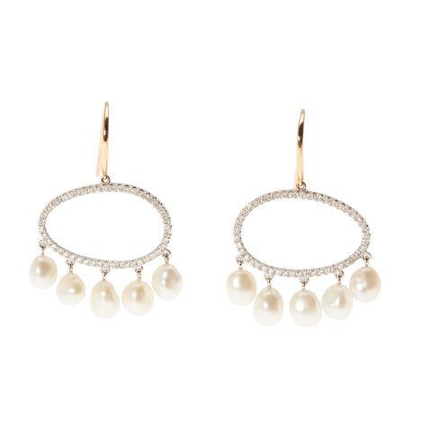 Boucles d'oreilles MIMI en or blanc et diamants avec pluie de perles