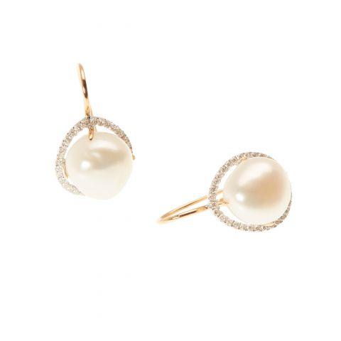 Boucles d'oreilles MIMI Milano perles entourage diamants sur or blanc et or jaune