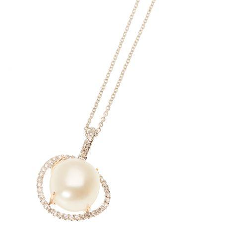 Pendentif MIMI Milano Victoria perle entourage diamants sur or blanc