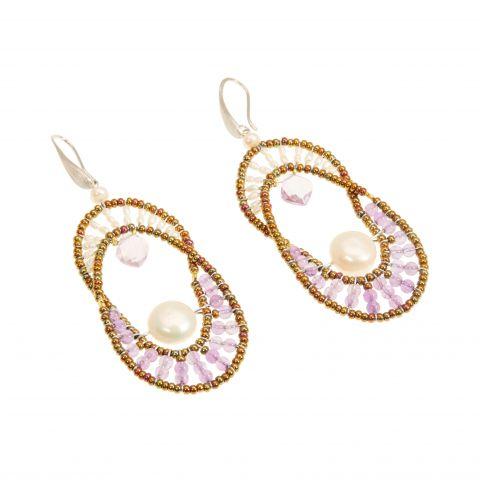 Boucles d'oreilles en perles Murano, perles d'eau douce et améthyste