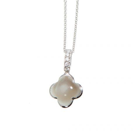 Pendentif Hulchi Belluni Quadrifoglio pierre de lune, diamants et or blanc, détail