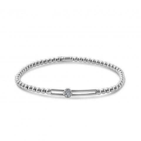 Bracelet Hulchi Belluni Tresore or blanc et pavé rond de diamants