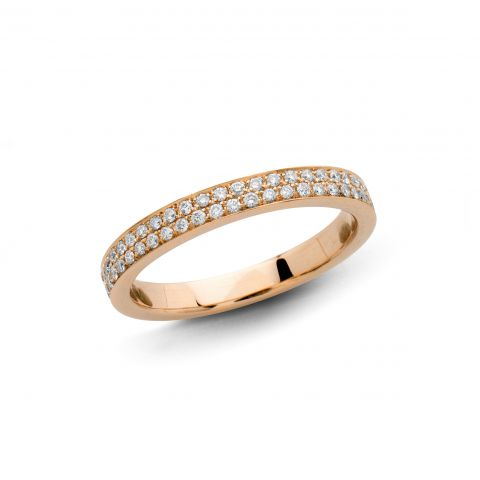 Demi-alliance Hulchi Belluni en or rose et diamants