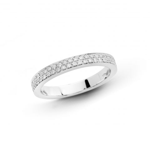 Demi-alliance Hulchi Belluni en or blanc et diamants