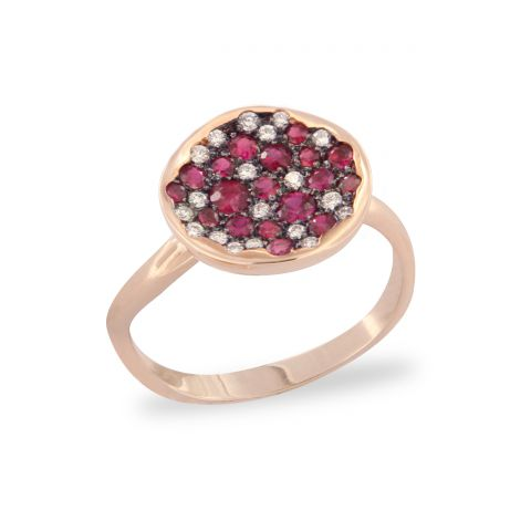 Bague Brusi Spring or rose, rubis et diamants blancs