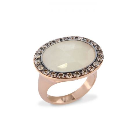 Bague Brusi Indjo saphir blanc et entourage diamants sur or rose