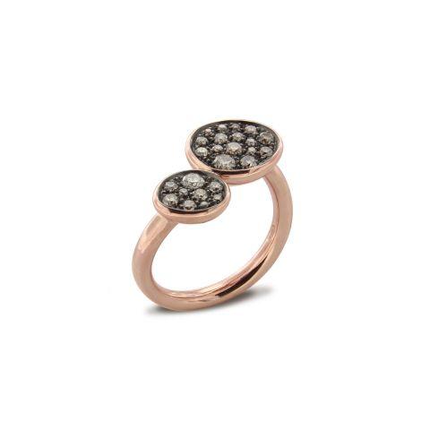 Bague Brusi double pavé de diamants bruns sur or rose