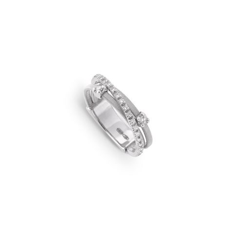Bague Marco Bicego Goa 3 fils d'or blanc et diamants