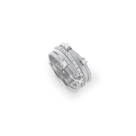 Bague Marco Bicego Goa 5 fils d'or blanc et diamants