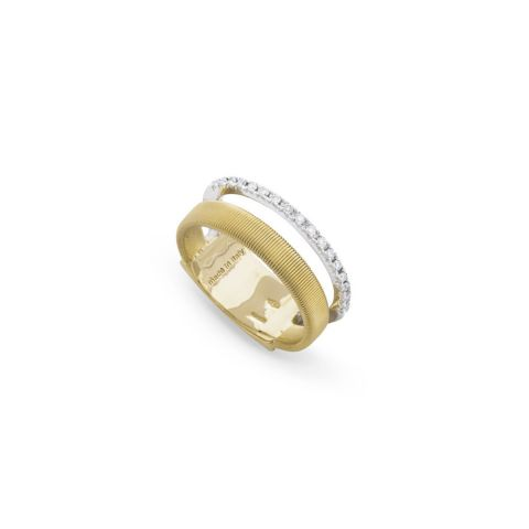 Bague Marco Bicego Masaï 2 rangs or jaune et or blanc pavé de diamants