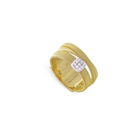 Bague Marco Bicego Masaï 3 rangs d'or jaune et pavé de diamants