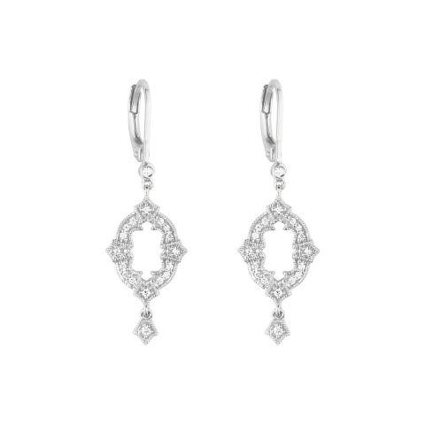 Boucles d'oreilles dormeuses Stone Paris Ava en or blanc et diamants