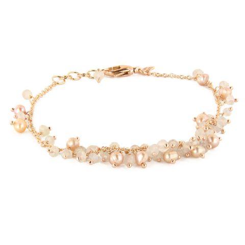Bracelet Brusi Fringe calcédoines blanches et perles sur or rose