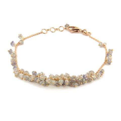 Bracelet Brusi Fringe labradorites grises et iolites - cordiérites sur or rose