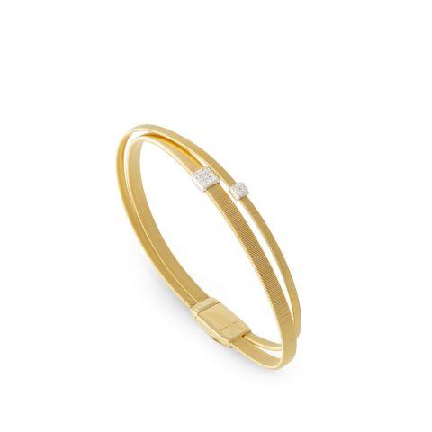 Bracelet Marco Bicego Masaï deux rangs en or jaune et pavés de diamants