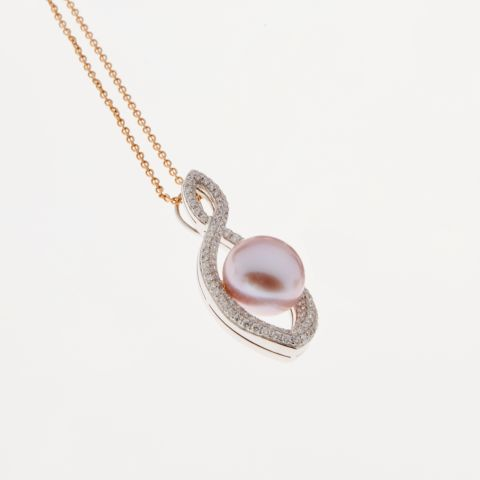 Pendentif Infini en or blanc et diamants avec perle rose