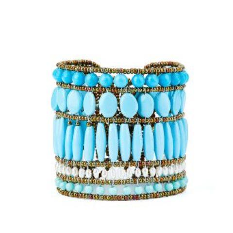 Bracelet manchette ZIIO Monocromo Blu Tu en magnésite, perles d'eau douce et perles en verre de Murano
