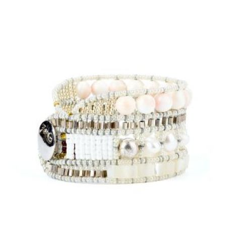 Bracelet ZIIO Nil en perles d'eau douce, nacre et perles en verre de Murano