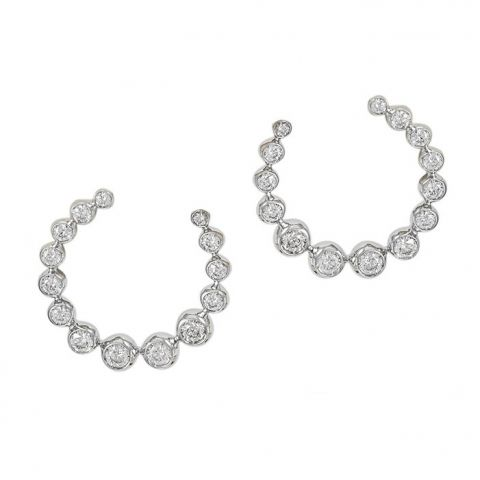 Boucles d'oreilles Casato Boutique en or blanc et diamants en arc de cercle