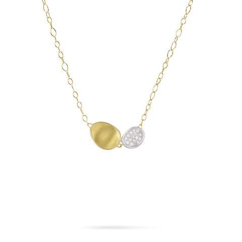 Collier Marco Bicego Lunaria double pavé d'or jaune, or blanc et diamant