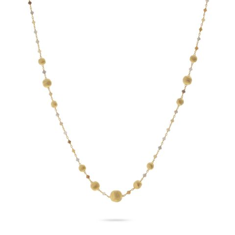 Collier Marco Bicego Africa or jaune guilloché et diamants multicolores