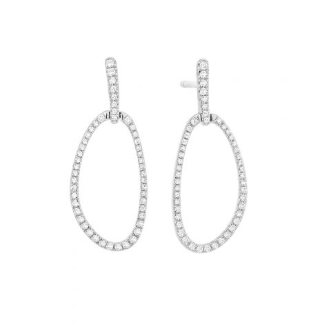 Boucles d'oreilles diamants et or blanc ovales