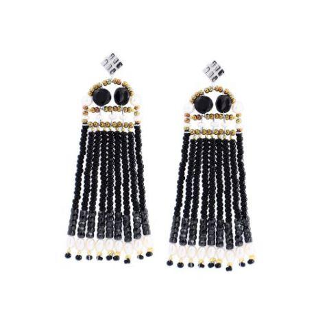 Boucles d'oreilles ZIIO Fenice Frange Black Pearl en spinelle noire, perles d'eau douce, perles en verre de Murano et zircons