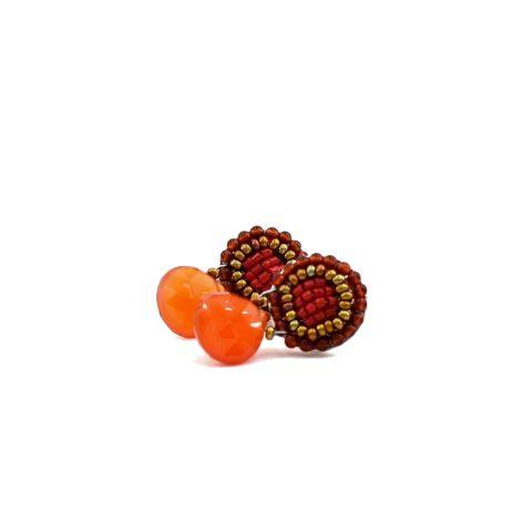 Boucles d'oreilles ZIIO Goiaba Bottone Orange en agathe, onyx et perles en verre de Murano