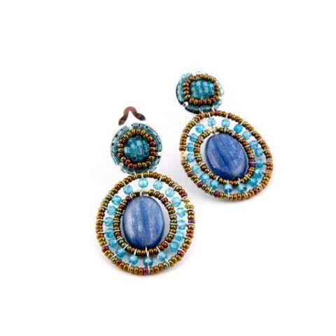 Boucles d'oreilles ZIIO Goiaba Kyanite en kyanite, perles en verre de Murano et zircons