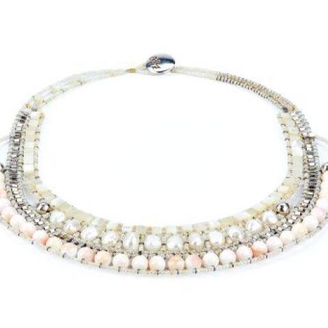 Collier ZIIO Nil en perles d'eau douce, nacre et perles en verre de Murano